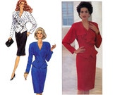 80s does 40s Peplum Wrap Top & Skirt Pattern Butterick 4216 Vintage Sewing Pattern Size 8 10 12 or 14 16 18