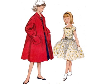 50s Girls Party Dress & Coat Pattern Simplicity 4586 Full Skirt Dress and Swing Coat Size 10 UNUSED Factory Folds