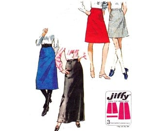 70s Jiffy Skirts Pattern Simplicity 9056 Maxi Midi Regular or Mini skirt Size 16 Waist 29 inches UNCUT Factory Folded