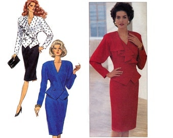Butterick 4216 Womens Peplum Wrap Top & Skirt 80s does 40s Vintage Sewing Pattern Size 8 10 12