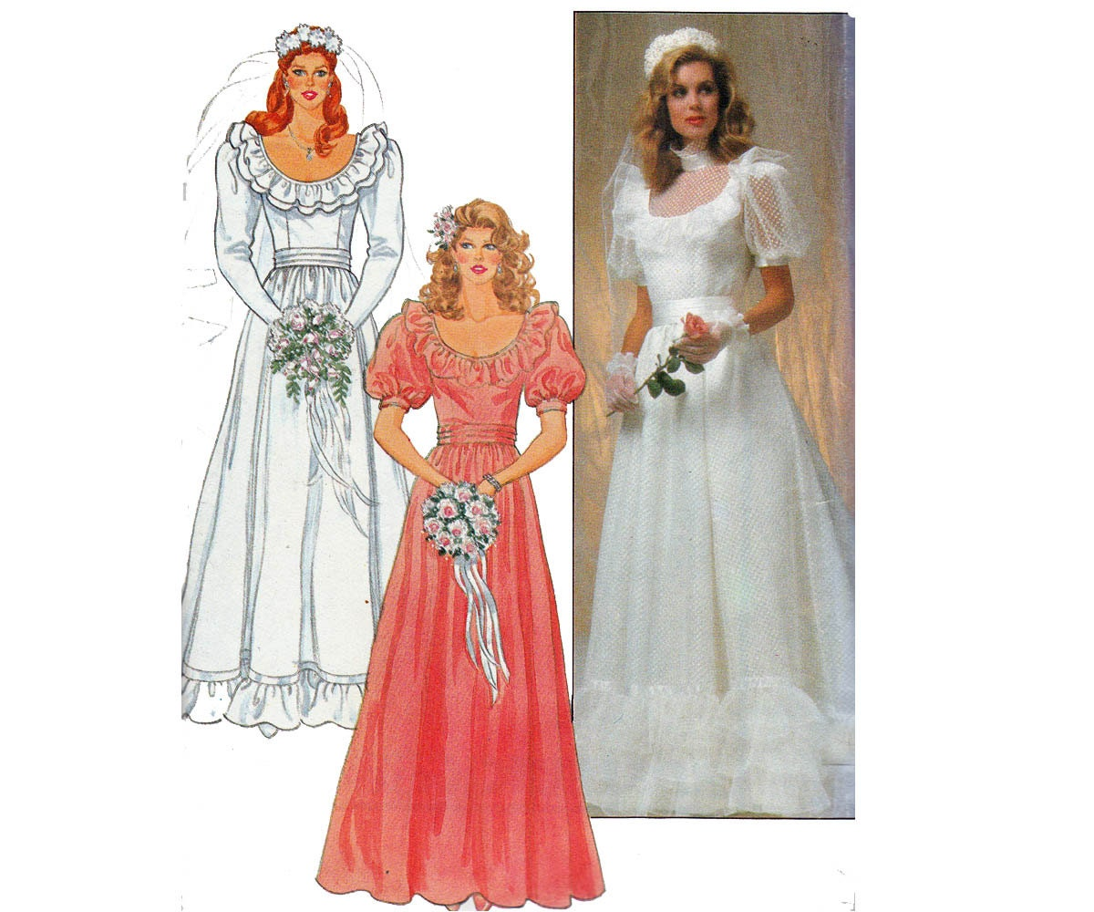 80s Wedding Dress Pattern Butterick 4765 By
