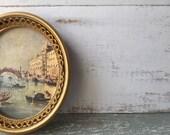 Romantic French Chic Cottage  Petite Framed Art. Mediterranean Scene. Venice Italy. Gondolas