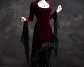 Circee Hooded High Low Dress in Wine Burgundy Velvet - RESERVED