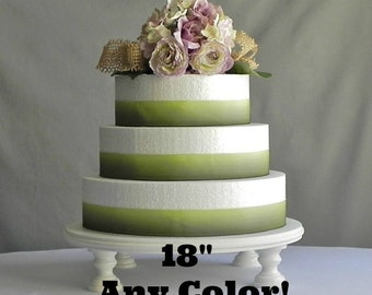 """18"""" ANY COLOR Wedding Cake Stand Cupcake Round Rustic Beach Vintage Wedding Decor E. Isabella Designs. Featured In Martha Stewart Weddings"""
