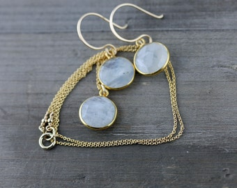 Moonstone Necklace and Earrings Set on 14k Gold Fill