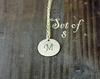 Custom Bridesmaids Necklaces, Personalized Gold Initial Necklaces, Bridesmaid Jewelry, Layering Necklace, Set of 8