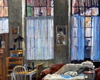 Studio Dog, Winter Light. Large Original Oil on Canvas, 20x30 Interior Studio Painting with Bichon, Signed Original Realist Fine Art