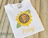 Sunflower Personalized Shirt, Bib or Hand Towel, Appliqued, Short or Long Sleeve Shirt, Terry Cloth Bib,Totally Custom