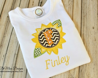 Sunflower Personalized Shirt, Bib or Hand Towel, Appliqued, Short or Long Sleeve Shirt, Terry Cloth Bib,Totally Custom