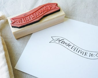 Please Deliver To Hand-Drawn Calligraphy Rubber Stamp