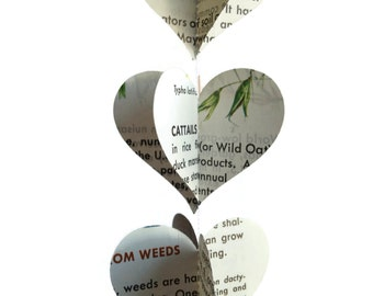 Weeds - Mini Paper Heart Garland Decoration -  Repurposed Vintage Field Guide to Weeds - Earth Day Decoration - Fun Novelty Gift - Unique