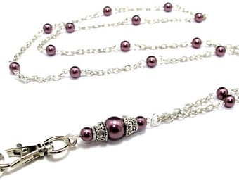 Women's Fashion Lanyard, Pearl Lanyard, Breakaway Lanyard, Pretty ID Badge Holder, Lanyard Necklace, Teacher Lanyard, Nurse Lanyard