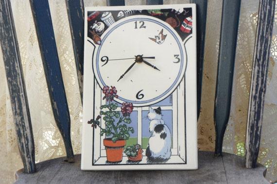 Vintage 80s Ceramic Tile Kitty Clock Cat Clock Santa Barbara