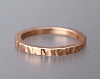 Rose Gold Wedding Band - Bark Hamered Textured Ring in Solid 14k Rose, White or Yellow Gold