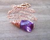 Rose Gold Alexandrite Necklace, Lab Created Stone, June Birthstone, Alexandrite Jewelry
