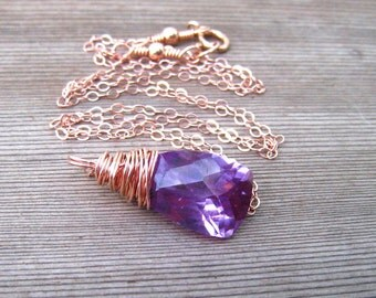 Rose Gold Alexandrite Necklace, Lab Created Stone, June Birthstone, Alexandrite Jewelry
