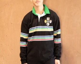 rugby 1994 BLOCK STRIPE vintage black & green POLO shirt