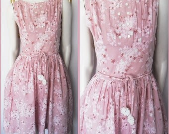 Vtg.50s Dusty Pink Floral Pin Tuck Pleated Cotton Day Dress.S.Bust 36.Waist 26-27.