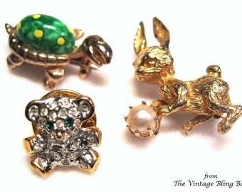 50s Woodland Animal Pins in Rhinestone Bear, Green Enameled Turtle & Pearl Rabbit Gold Figural Design - Vintage 50's Brooch Costume Jewelry