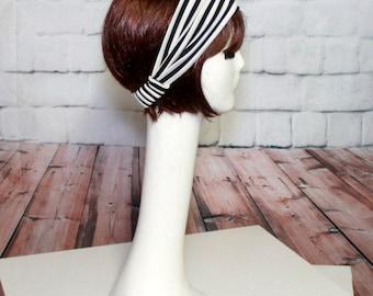 Striped Wide Headband, Black&White Striped Headband, Jersey Knit Turban Headband, Black Headband, Turban Striped headband