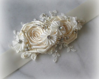 Ivory Bridal Sash with Ivory Lace, Crystals and Pearls, Cream Wedding Belt, Custom Colors - LA CREME