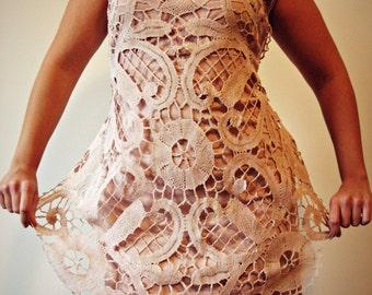 """Crochet dress, knit dress, gypsy dress, boho style, vintage dress, lace dress, """"Arsenic & Old Lace"""" crochet series - MARTHA - SALE 10%"""