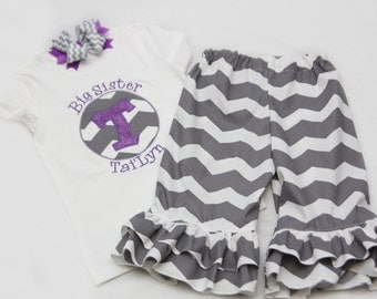 Big Sister Shirt and Ruffle Pants Set with Coordinating Hairbow - Grey Chevron with Purple