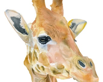 Giraffe Watercolor Painting - 4 x 6 - Giclee Print - African Animal - Nursery Art - Giraffe Painting