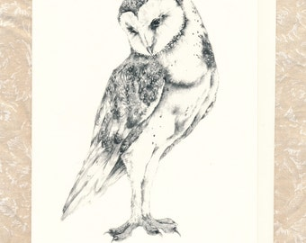 "Barn Owl 5"" x 7"" card with envelope"