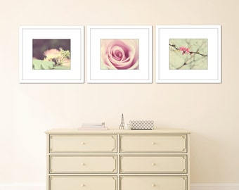 floral art prints bedroom decor pink mint green wall art print nursery wall decor flowers nature photography