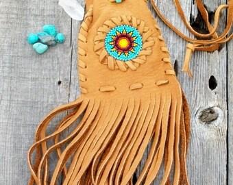 Fringed leather bag , medicine bag , amulet bag , beaded leather bag , sunflower beadwork