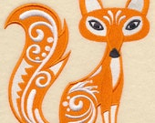 Fox with Flourish Embroidered Cotton Kitchen Towel, Intricate Design