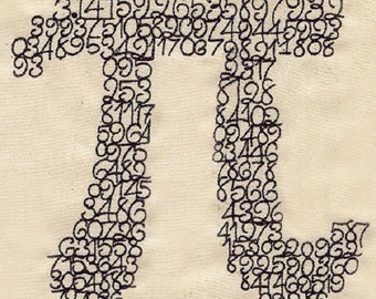 The Number Pi Embroidered Cotton Kitchen Towel, Math Design
