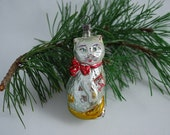Vintage Blown Glass Cat with Christmas Package Hand Painted Christmas Tree Ornament  - 1950's - Czechoslovikia