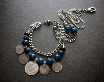 Navy Blue Multi Strand Kuchi Coin Banjara Statement Necklace with Vintage Silver Chains and Pyrite Beads