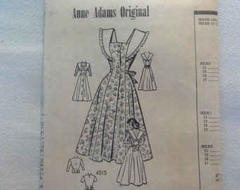 1940s Sundress or Jumper with Ruffle Collar & Blouse- UNUSED Vintage Anne Adams Original Mail Order Sewing Pattern 4515- Size 11 Bust 29