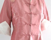Vintage Embroidered Sequined Chinese Jacket Laogudai China Pink Rose Mauve White Large