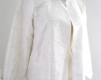 Vintage 90's Grace Chuang NY Silk Taffeta Embroidered Jacket Swing Coat Snow White Large Maternity Bridal