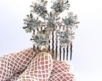 Bridal Hair Comb, Wedding Hair Comb, Snowflake, Winter Wedding, Coro Brooch,  Blue Rhinestone Hair Comb, Forget Me Not, Bridal Headpiece