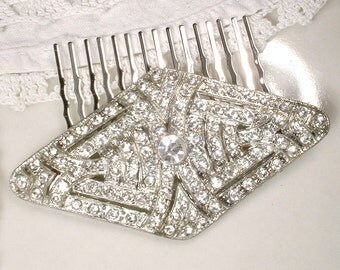 OOAK Great Gatsby Headpiece OR Sash Brooch, 1920 Art Deco Clear Rhinestone Silver Bridal Flapper Hair Comb Vintage Wedding Antique Hairpiece