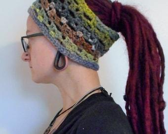 Grey Green Brown Noro Iro Striped Wool Silk Headband Dreadband