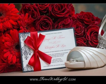 Red Wedding Invitation, Valentine Invite, Winter Wedding, Damask Pattern, The Jaime Damask Wedding Invitation Sample