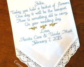 Flower Girl, WEDDING GIFT,  Embroidered Wedding HANDKERCHIEF, Personalized by Canyon Embroidery