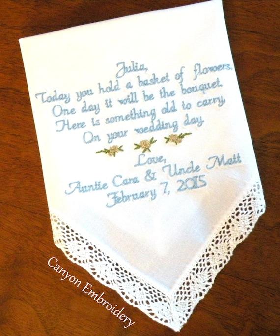 , Wedding Gift, Embroidered Wedding Handkerchief Flower Girl Wedding ...