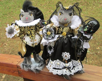 Cat Doll, Gray Cat, Cat Pair, Black, Gold, White, Gothic, Cat Costume, French, Renaissance Fair, Fancy Cats, Duo, Christmas Decor, Feline