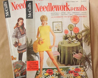 MOD Vintage 1960's Magazines, McCall's Needlework & Crafts, Fall Winter 67, Spring Summer 68, Mid Century Modern Decor and Home, Vintage Ads