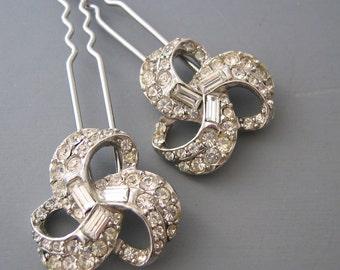 Love. Honor. Cherish - Rhinestone Bridal Hair Pins - Vintage Adorned Hair Pins