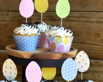 Easter Egg Cupcake Toppers,12 in pink, green, yellow and blue polka dots