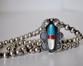 Signed Native American Sterling Turquoise and Coral Necklace