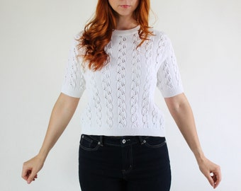 SALE - Vintage 1980s White Pointelle Short Sleeved Pullover Sweater